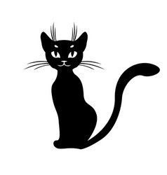 Silhouette of black cat sitting vector