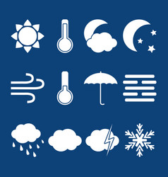 silhouette weather icons set in flat style vector image