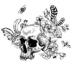 Skull Flowers Day of The Dead Black and white vector image