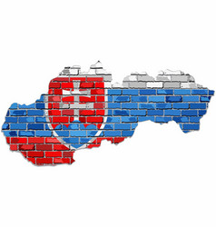 slovak republic map on a brick wall vector image