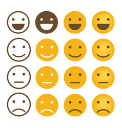 Smile emotions icons simple flat round faces vector