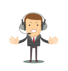 Smiling male operator with headset speaking vector