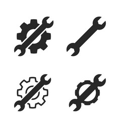 spanner and gear settings service icon logo set vector image