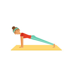sportive young woman character doing the push up vector image