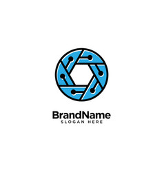 Technology lens and camera logo design inspiration vector