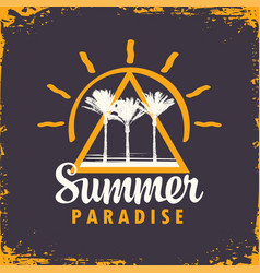 travel banner with palm trees summer paradise vector image
