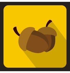 Two acorn icon flat style vector image