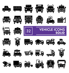 Vehicle glyph icon set car symbols collection vector