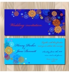 Winter snowflakes design Wedding invitation card vector image