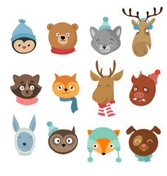 winter xmas happy animals cartoon characters vector image