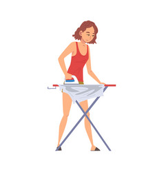 Young woman ironing clothes on iron board vector