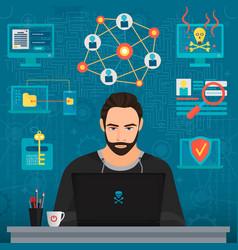 bearded coder hacker vector image vector image