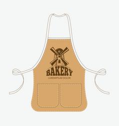 vintage baker apron with mill emblem vector image