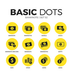 banknote flat icons set vector image