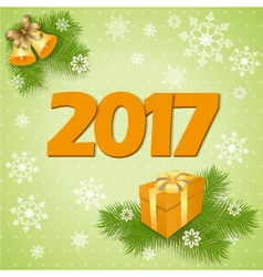 New year card with gift vector image