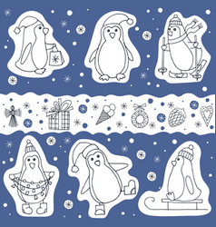 set of penguin and christmas presents icons vector image vector image