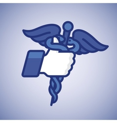 Thumbs Up symbol icon with caduceus medical symbol vector image vector image