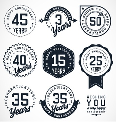 Anniversary Badges and Labels in Vintage Style vector image