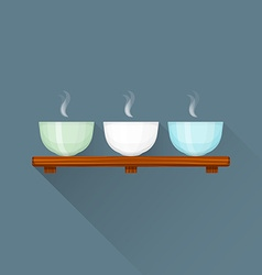 flat triple Chinese tea cups on stand icon vector image