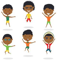 happy african-american cartoon boys jumping vector image vector image