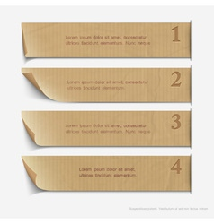 Old paper numbered banners vector image vector image