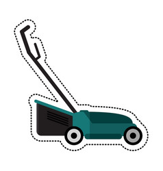 cartoon hand lawn mower gardening vector image