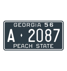 Georgia 1956 license plate vector image vector image