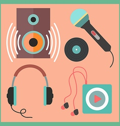 musical icons set in flat style vector image