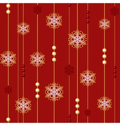 red christmas seamless with beads and snowflakes vector image