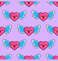 seamless pattern of smiling hearts with wings on vector image vector image