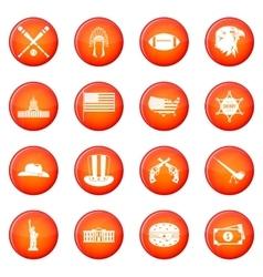 USA icons set vector image