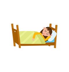 vecotr flat cartoon girl sleeping in bed vector image