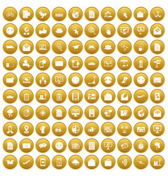 100 mail icons set gold vector