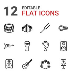 12 acoustic icons vector image