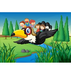 a river a bird and kids vector image