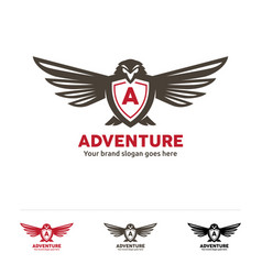 adventure fly logo bird symbol with letter in the vector image