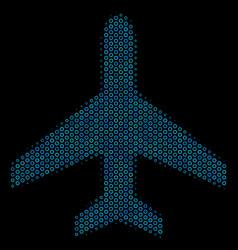 air plane collage icon of halftone circles vector image