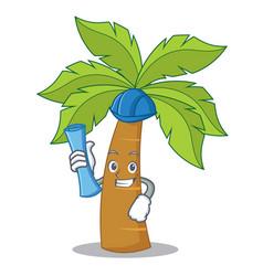 Architect palm tree character cartoon vector