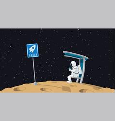 Astronaut sitting on shuttle stop vector