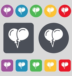 Balloon Icon sign A set of 12 colored buttons Flat vector