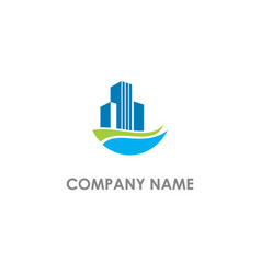 building realty water wave logo vector image