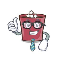 businessman hot chocolate character cartoon vector image
