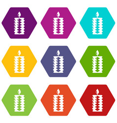 candle decoration icons set 9 vector image