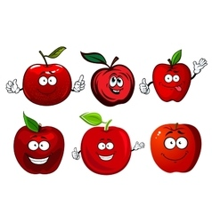 Cartoon sweet red apple fruit characters vector image