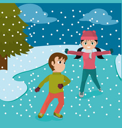 children with winter clothes playing in the ice vector image