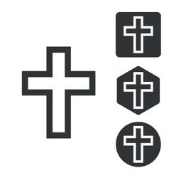Christian cross icon set monochrome vector image vector image