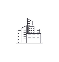 City buildings line icon sign vector