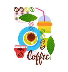 Coffee cup break breakfast drink beverage vector