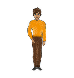 Color pencil cartoon full body guy atlethic with vector