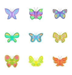 Colored butterfly icons set cartoon style vector image